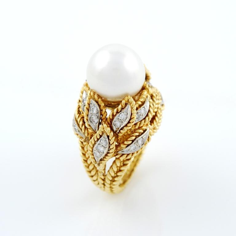 gold and pearl ring for sale at 1stdibs