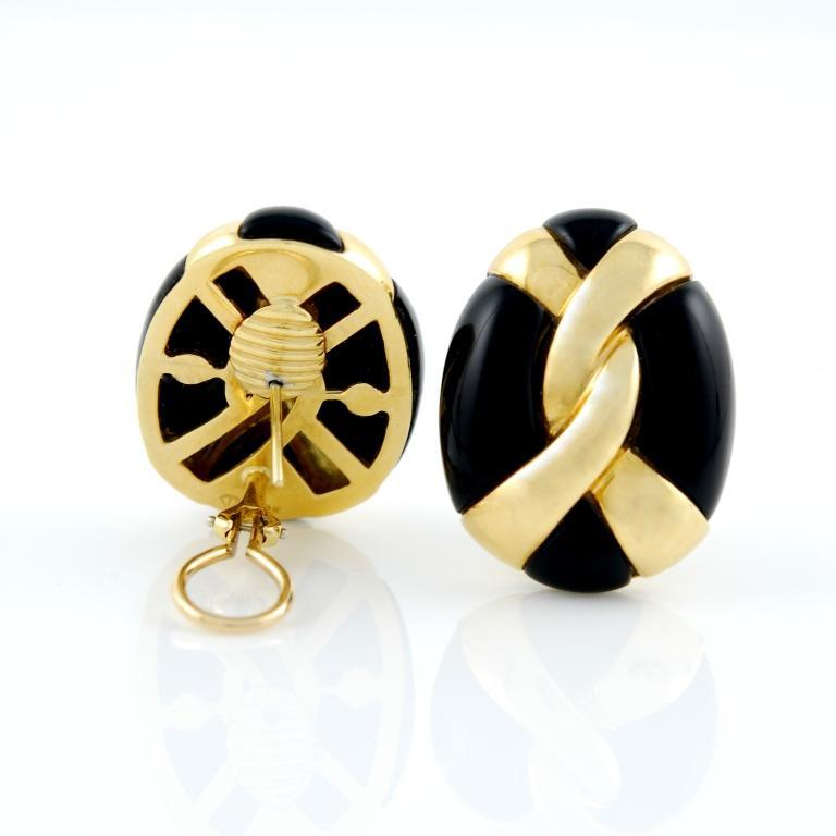 Yellow Gold and Onyx Earrings 2