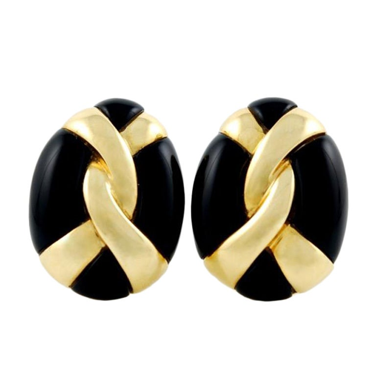 Yellow Gold and Onyx Earrings 1