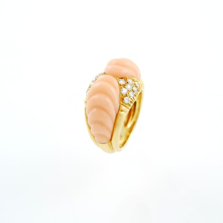 pink coral gold ring image 2