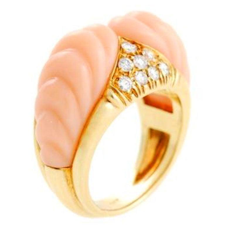 pink coral gold ring at 1stdibs