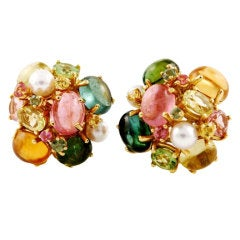 Seaman Schepps Pearl Green and Pink Tourmaline Peridot Gold Bubble Earrings