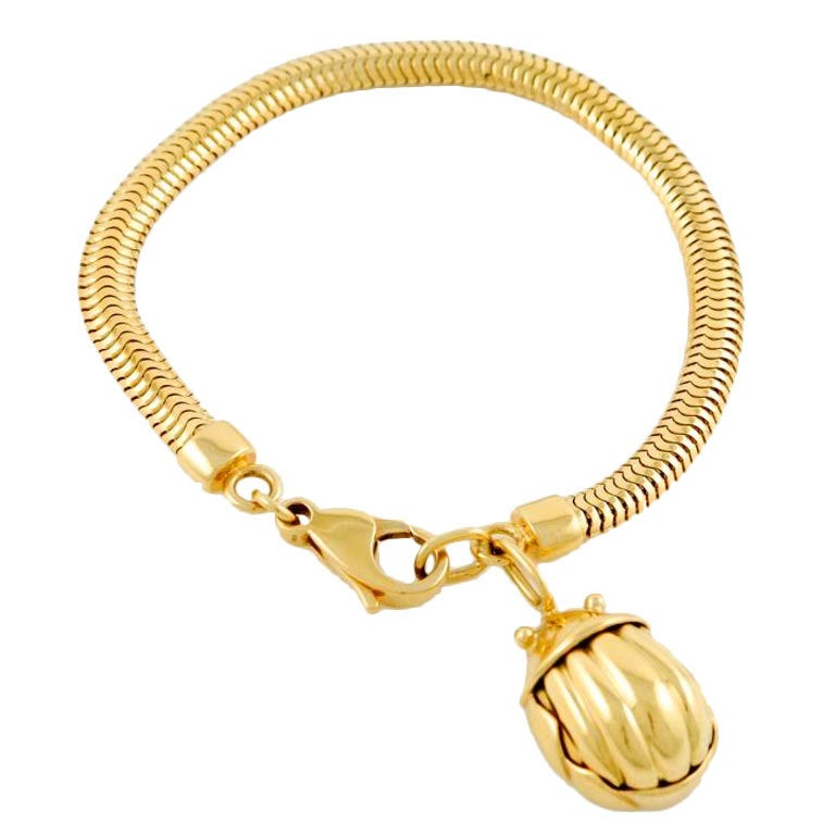 Tiffany And Co Yellow Gold Scarab Bracelet At 1stdibs