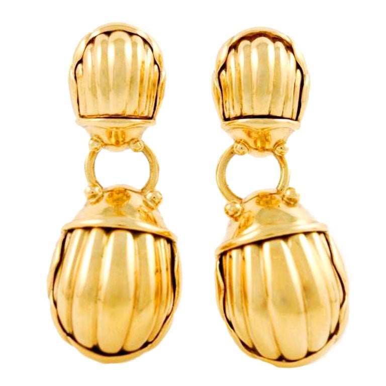 Tiffany And Co Yellow Gold Scarab Earrings At 1stdibs