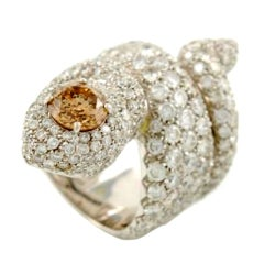PAOLO PIOVAN White Gold and Diamond Snake Ring
