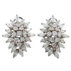 Diamond White Gold Cluster Earrings