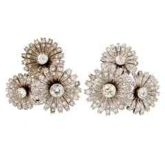 Platinum and Diamond Three Daisies Clip-on Earrings