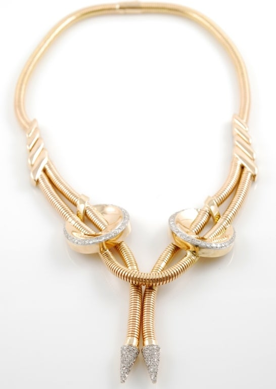 """Pink Gold and Diamond """"Snake-Chain"""" Necklace 2"""