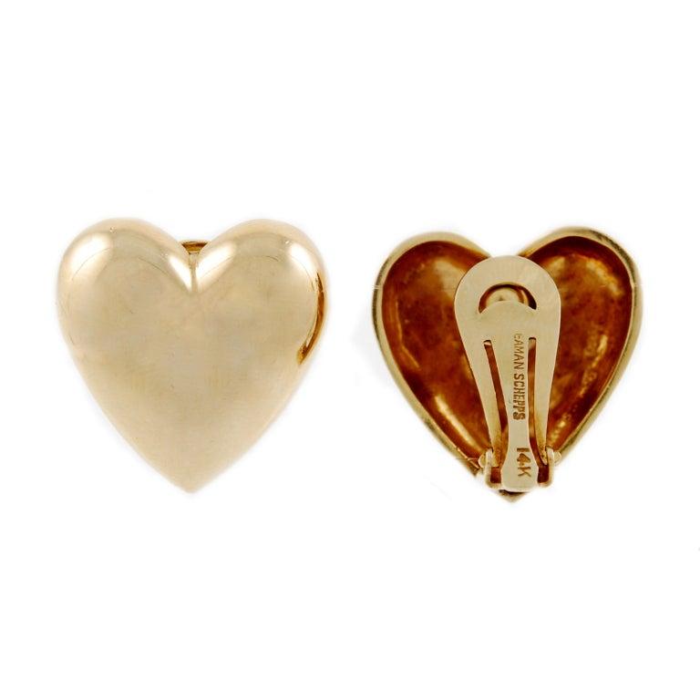 SEAMAN SCHEPPS Gold Heart Earrings 2
