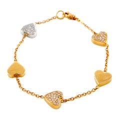 Diamond Pink and White Gold Heart Bracelet