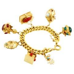 1950s Carnelian Chrysophrase Coral Opal Gold Charm Bracelet