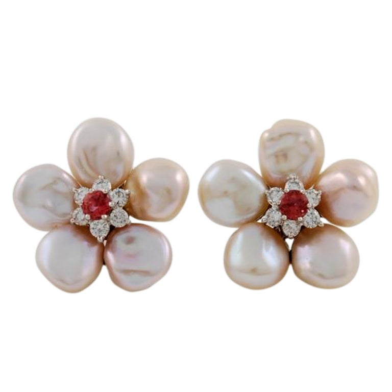 Seaman Schepps White Gold Pearl Diamond Pink Sapphire Flower Earrings 1