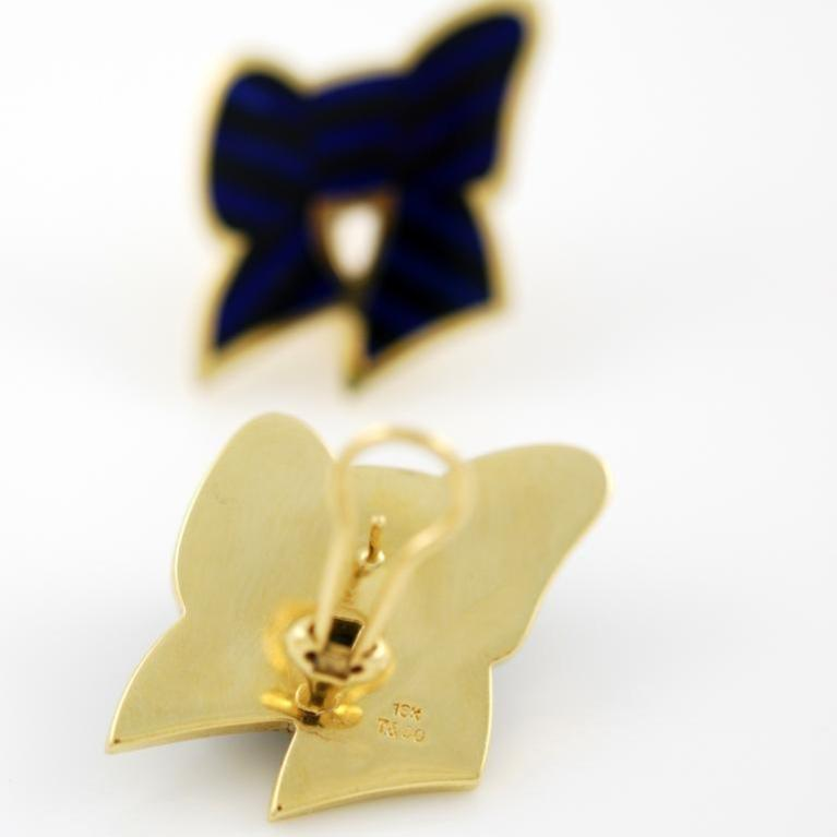 TIFFANY & Co. Gold, Lapis and Onyx Bow Earrings 2