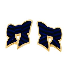 TIFFANY & Co. Gold, Lapis and Onyx Bow Earrings