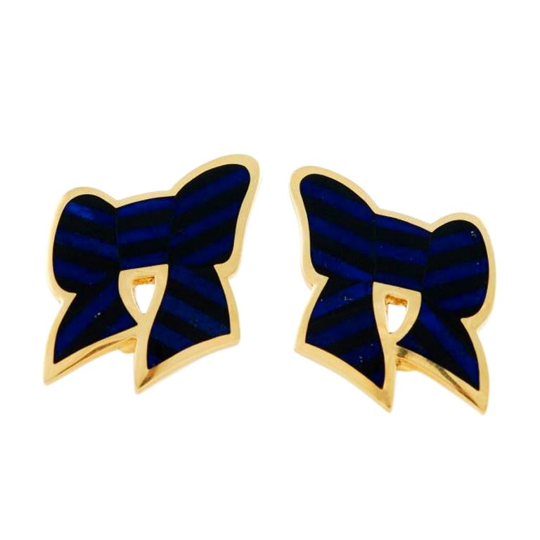 TIFFANY & Co. Gold, Lapis and Onyx Bow Earrings 1