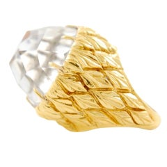 DAVID WEBB Rock Crystal Gold Ring