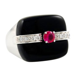 Ottaviano Onyx Diamond Ruby Cocktail Ring