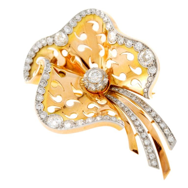 Rose Gold Diamond Brooch At 1stdibs