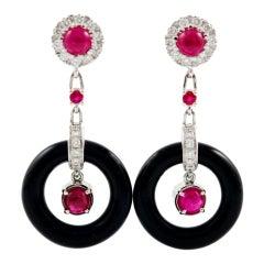 OTTAVIANO Onyx Ruby Diamond Earrings