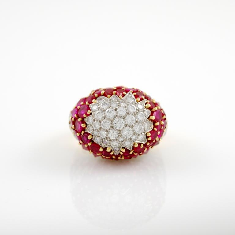 Ruby Diamond Gold Dome Ring At 1stdibs