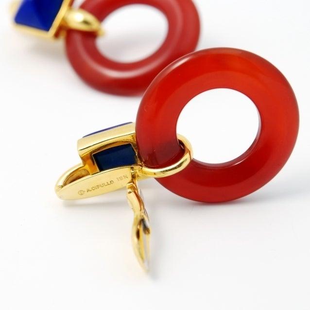 ALDO CIPULLO Carnelian & Lapis Gold Earrings image 2
