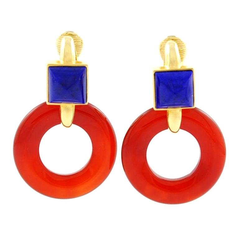 ALDO CIPULLO Carnelian & Lapis Gold Earrings