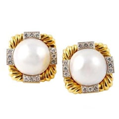 DAVID WEBB Mabe Pearl and Diamond Earclips