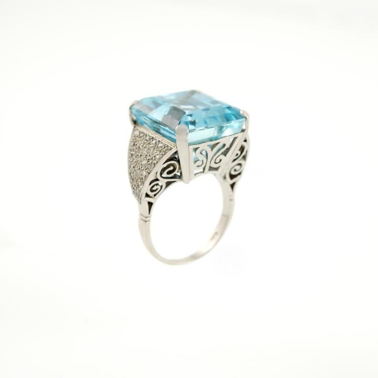 and aquamarine platinum ring at 1stdibs