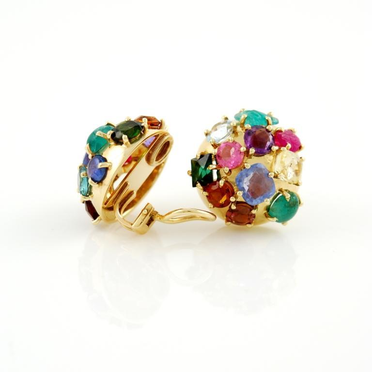 Gold And Natural Colored Stones Earrings For Sale At 1stdibs