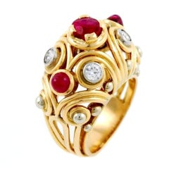 VAN CLEEF & ARPELS Pink Gold, Ruby and Diamond Ring