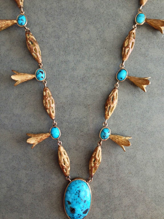 Alexander Kower Gold Turquoise Diamond Necklace For Sale