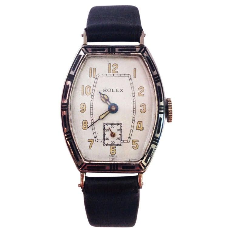 Rolex sterling silver and enamel art deco wristwatch circa for Minimal art wrist watch