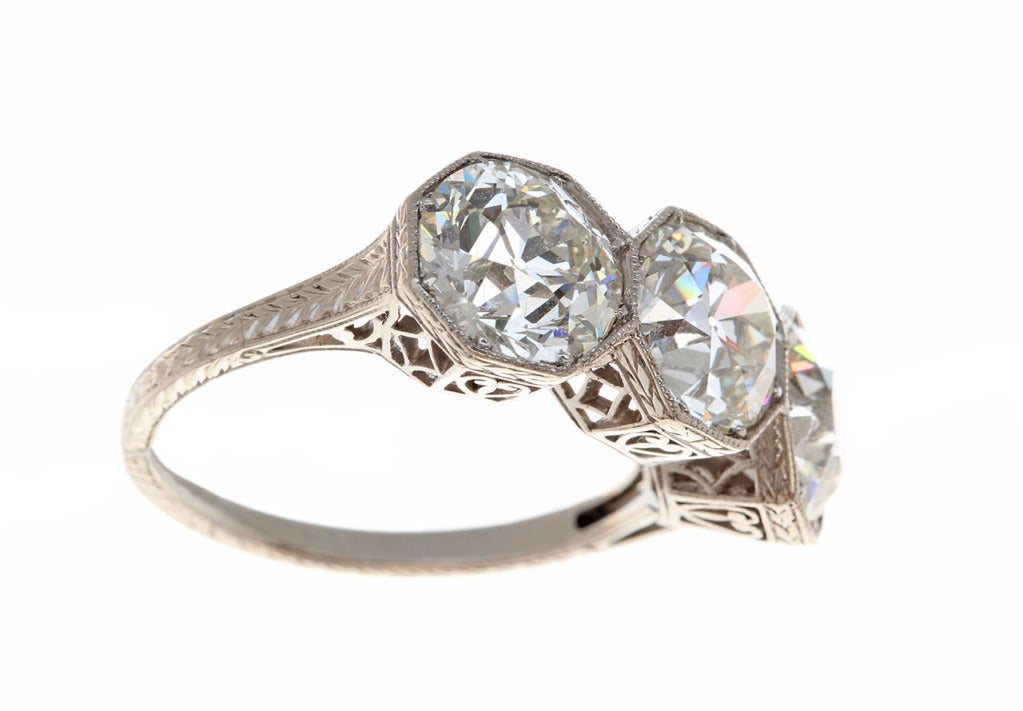Edwardian Three Diamond Ring image 2