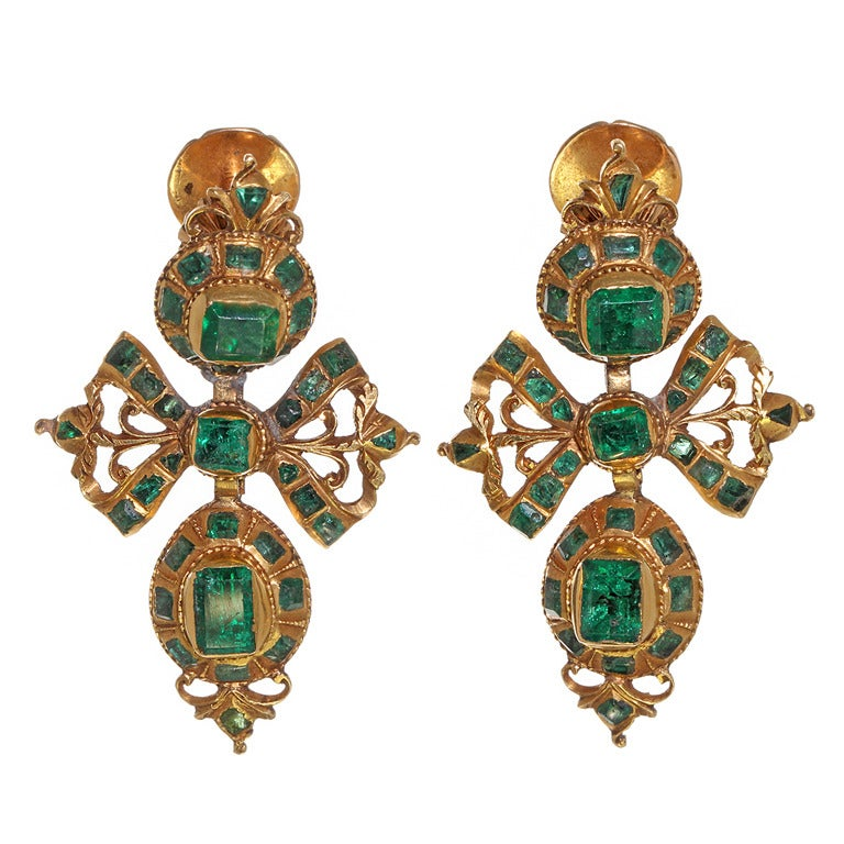 18th century spanish gold and emerald earrings at 1stdibs