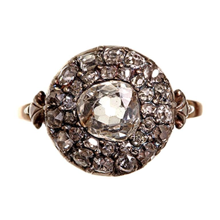 georgian old mine cut diamond cluster ring at 1stdibs