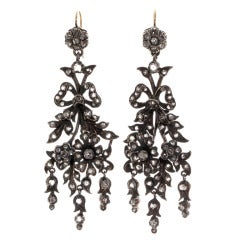 Victorian Era Naturalism Movement Diamond Earrings