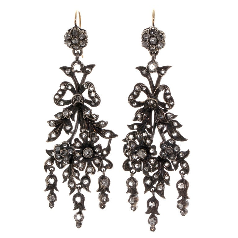 Victorian Era Naturalism Movement Diamond Earrings 1