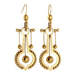 Victorian Gold Metal Elaborate Dangle Earrings