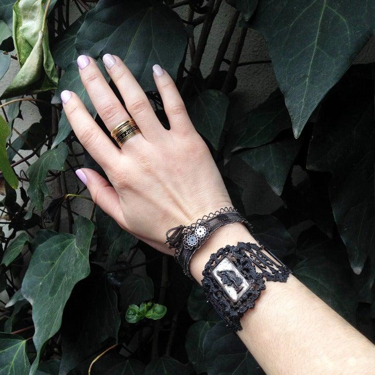 Rare Silesian Iron Wire Work Bracelet 8