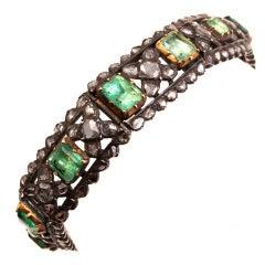 Emerald & Rose Cut Diamond Bracelet
