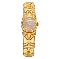 Bulgari Lady's Yellow Gold Parentesi Bracelet Watch with Diamond Dial