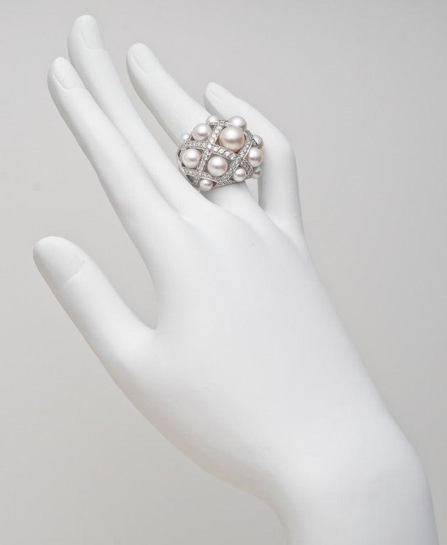 "CHANEL ""Matelasse"" Cultured Pearl & Diamond Ring 2"