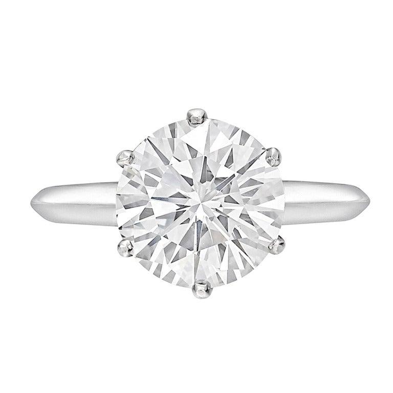 TIFFANY and CO 3 02 Carat Round Brilliant Diamond Ring at 1stdibs