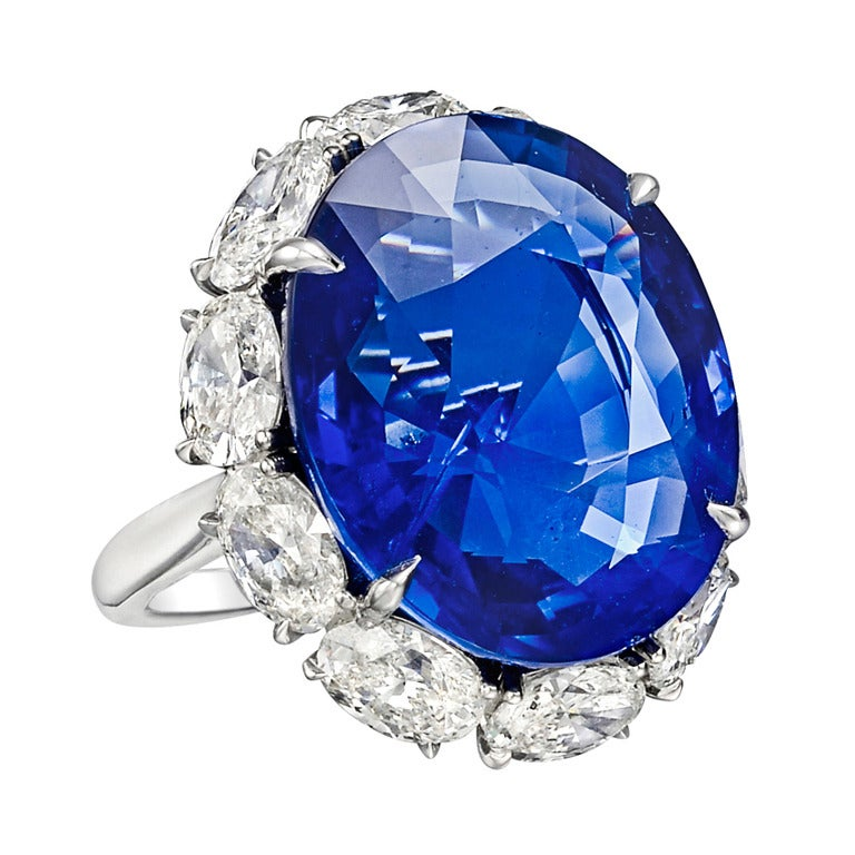 22.22 Carat Sapphire & Diamond Ring For Sale