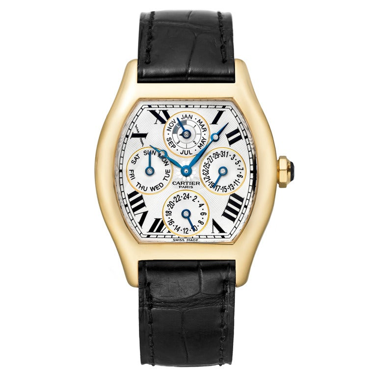 Cartier Yellow Gold Tortue Perpetual Calendar Wristwatch For Sale