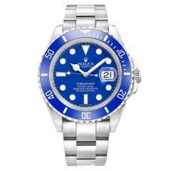 Rolex White Gold Submariner Date Wristwatch Ref 116619