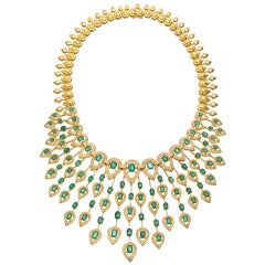 Superb Emerald Diamond Fringe Necklace