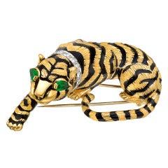 David Webb Enamel Gold Gem-Set Crouching Tiger Brooch