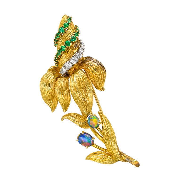 French 1950s Gold Gem-Set Flower Pin