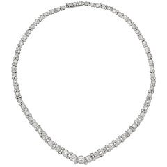 Old Mine Cut Diamond Line Necklace